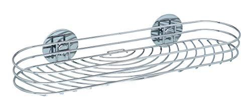 WENKO Turbo-Loc® Maxiablage, Wandablage für Seife, Shampoo und Co., Wandregal fürs Badezimmer, Befestigung ohne Bohren, aus verchromtem Stahl, 38 x 6 x 11,5 cm