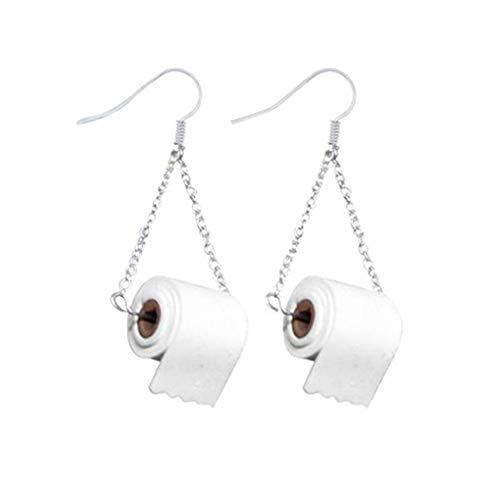 Fengyuanhong Toilettenpapier-Entwurfs-Ohrring-Haken-Legierung baumelnden Ohrring-Frauen Schmucksachen des Klopapier baumelnden Ohrring-Hakenohrring Mädchens Ohr Dekoration