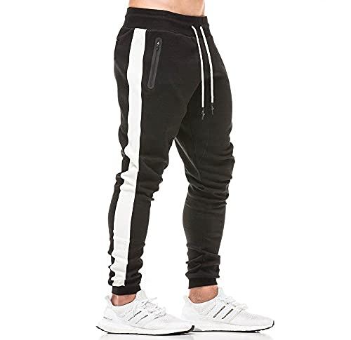 Tansozer Pantaloni Tuta Uomo Cotone Slim Fit Pantaloni Sportivi Uomo Joggers Running Pantaloni Felpa Uomo Tasche Laterali Pantaloni Lunghi Neri 2XL