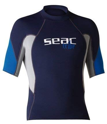 Seac Herren Raa Short Evo Rash Guard Uv-schutz-shirt Zum Schnorcheln Und Schwimmen Kurzarm, Blau/Hellblau, XS