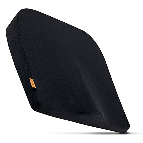 Bequemes Keilkissen mit weichem Bezug - Modernes Sitzkissen für Stuhl, Bürostuhl, Auto - Ergonomisches, Optimal Harte Füllung aus Memory Foam - DYNMC YOU - Schwarz