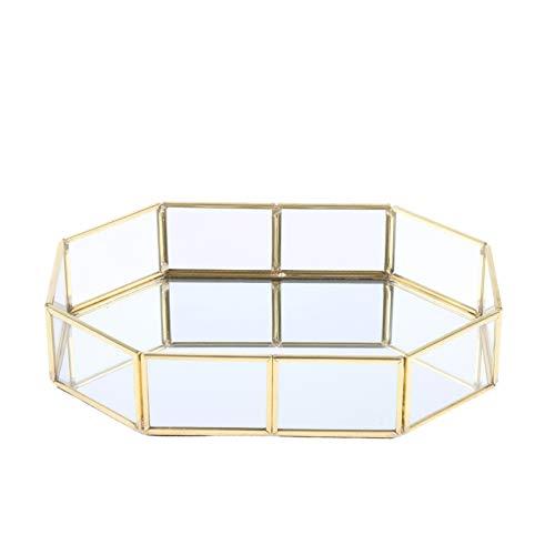 Bandeja de Servir Caja De Almacenamiento Metal del Oro De Cristal Cosméticos, Bandeja Decorativa, Almacenaje De La Joyería Bandeja Bandejas Decorativo