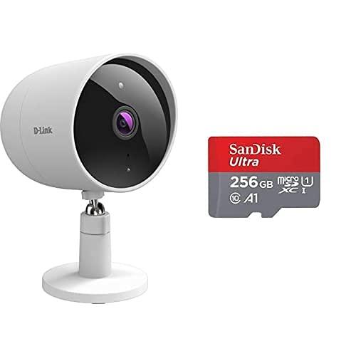 D-Link DCS-8302LH Cámara Exterior WiFi, Full HD, visión Nocturna, 135º, Control Desde App, Sirena+SanDisk Ultra Tarjeta de Memoria microSDXC con Adaptador SD, hasta 120 MB/s, Rendimiento de apps A1
