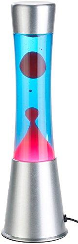 Lunartec Lavaleuchte: Lavalampe mit blauer Flüssigkeit & rotem Wachs, Glas & Aluminium (Tischlampen)