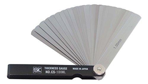 新潟精機 SK シクネスゲージ(すきまゲージ) カラースリーブタイプ 黒 19枚組 100mm CS-100ML 0.01-1.00mm