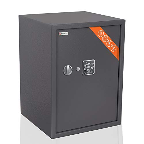 Brihard Business XL Tresor Safe mit Elektronischem Schloss, 53x39x38cm (HxWxD), Titan Grau
