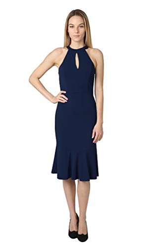 bebe Women's Halter Bodice Scuba Crepe Bottom Flare Dress with Front & Back Keyhole Navy 8