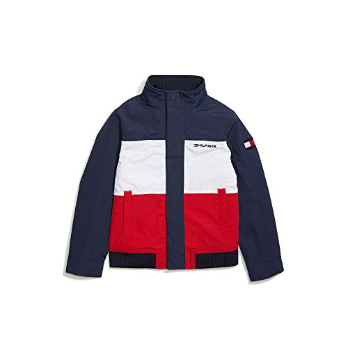 Tommy Hilfiger Boys' Adaptive Yacht Jacket with Magnetic Buttons, Navy Blazer Bright White-PT/Apple RED, M