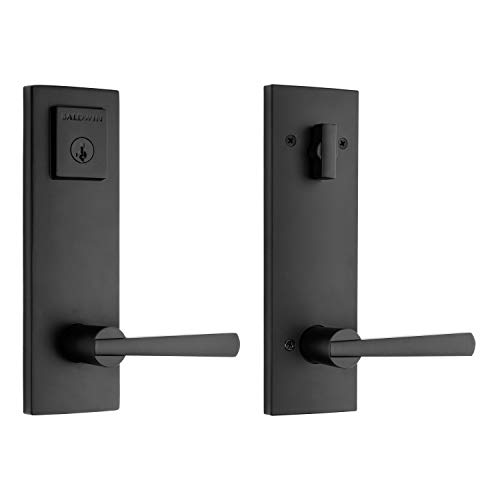 Baldwin Spyglass Single Cylinder Front Door Handleset Featuring Microban Antimicrobial Protection and SmartKey Security in Matte Black, Prestige Series Slim Door Handleset and Square Lever