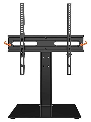 Soporte giratorio universal para TV, altura ajustable, base de vidrio templado Tith y gestión de cables (tamaño : soporte de TV de 27 a 55 pulgadas)