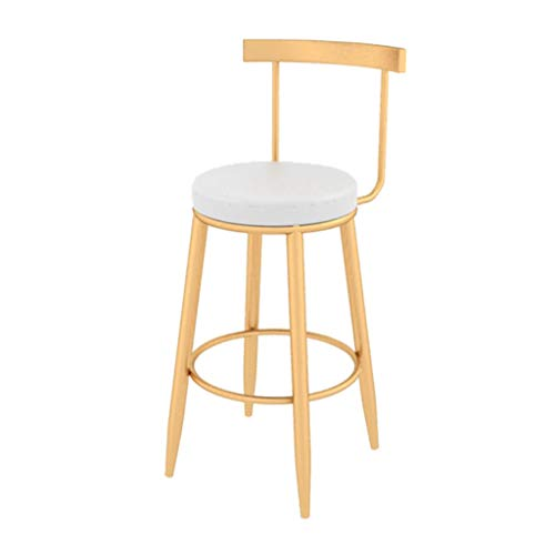 Taburete de Bar Moderno, taburetes de Altura de Pub, café en casa, Desayuno, Cocina, mostrador, sillas de Bar, taburetes de Bar de Metal Dorado, Asiento tapizado Redondo, Carga máxima de 200 kg