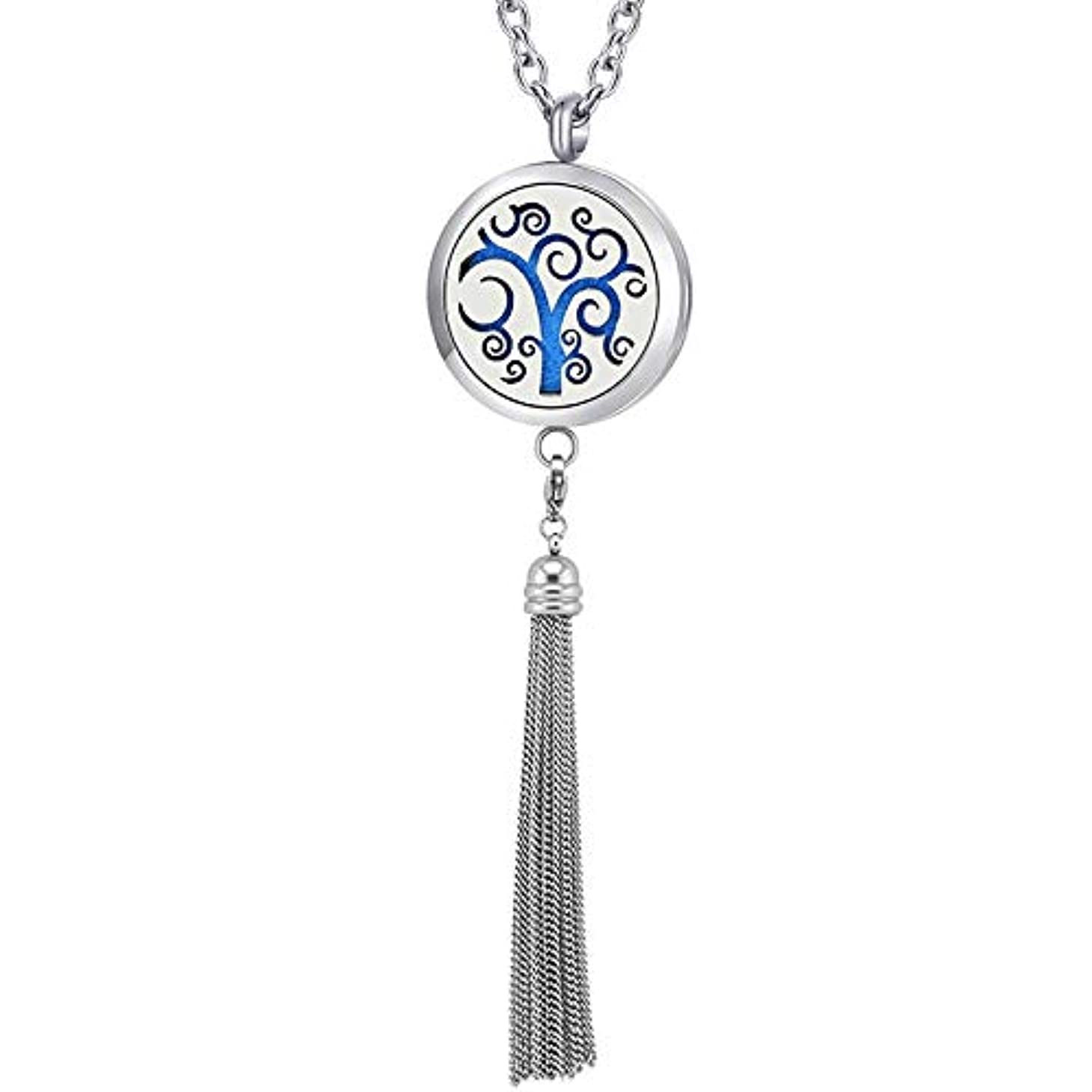 Locket Jewelry | Silver Magnetic Stainless Steel Essential Oil Diffuser Locket Pendants & Necklaces | with Tassel