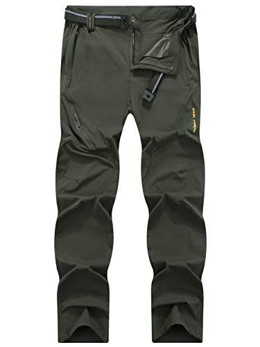LY4U Herren Draussen Schnelltrocknend Leicht Atmungsaktiv Hose Wandern von Camping Trekking Mountain Running Jagd Stretch Hose mit Gürtel