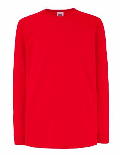 Kinder Langarm T-Shirt Kids Shirt - Shirtarena Bündel 152,Rot