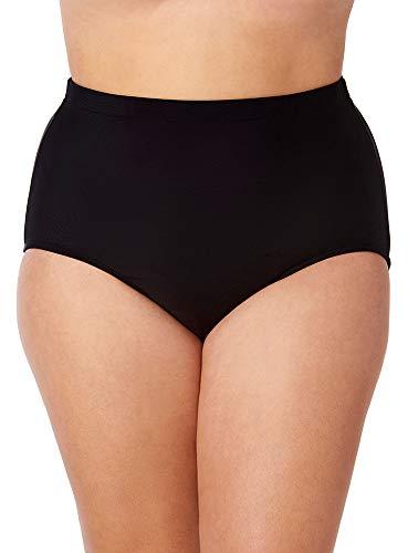 Penbrooke Women's Plus Size Swimwear Girl Lower Leg Brief Tummy Control Full Coverage Swim Bottom, Black, 18W