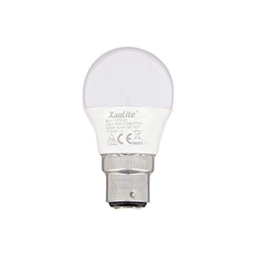 Xanlite EB470PCW LED P45-casquillo B22-5,3 W Cons (40 W Eq.) - Bombilla estándar para oficina, dormitorio, sala de estar, cuarto de baño, clase energética A+, luz blanca neutra