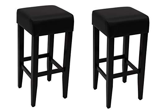 DEGAMO Barhocker Bodega 35x35x80cm, Gestell Akazie braun oder schwarz, Bezug Kunstleder schwarz, 2 STÜCK (Schwarz)