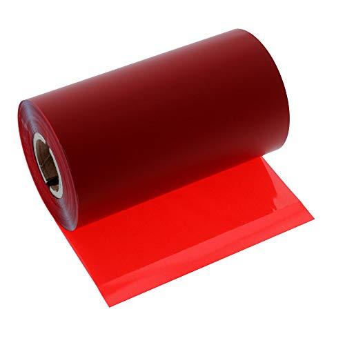 Labelident Premium Thermotransfer Harz Ultra Farbband Außenwicklung, rot (signal) - 110 mm x 300 m - für glänzende Folienetiketten, 1 Zoll Hülse, für Etikettendrucker 4 Zoll Druckbreite