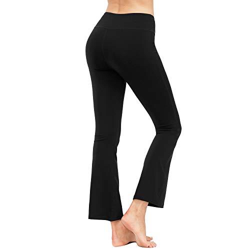 HMIYA Bootcut Yogahose, Flare Hose Fitness Joga Sporthose Damen(Tasche/Schwarz,L)