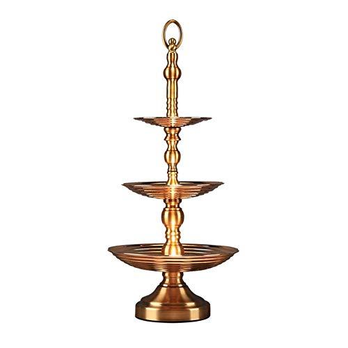 Fruit Rack, 3 couches de plateau de rangement en métal de décoration d'artisanat de comptoir TIDLT (Couleur : Or)