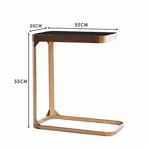 FEI Table d'appoint, table en verre Verre Heavy Duty Portable Salon Chambre Canapé Canapé Table d'appoint Table d'extrémité Table pour ordinateur portable Bureau Couch Stand C Table (Couleur : GLOD)