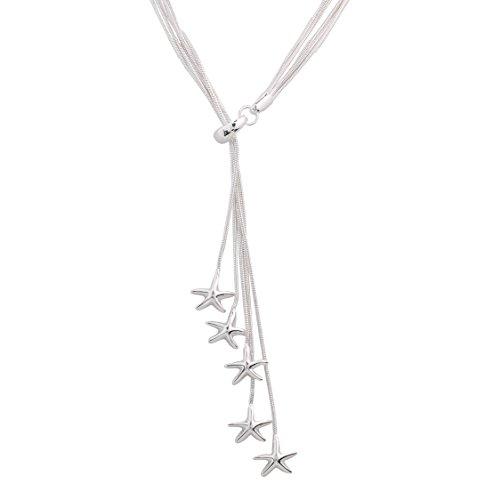 Styleziel dameshalsketting 925 zilver pl kleine sterren liefde hanger 43cm 1506