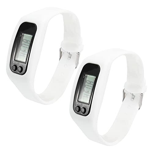 IFUNDOM Relógio eletrônico masculino e feminino digital LCD pedômetro, corrida, passo, distância, contador de calorias, pulseira (branco) acessórios de telefone para mulheres e homens