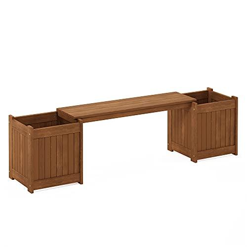 Furinno Tioman Wooden Planter Bench