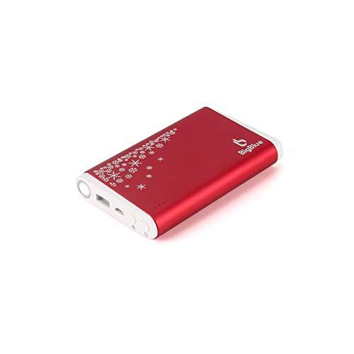 BigBlue 10000mAh Scaldamani Elettrico USB, 3 in 1 Mano Warmer Ricaricabile con Caricabatterie e Lampada a LED (Versione di Natale, Rosso)