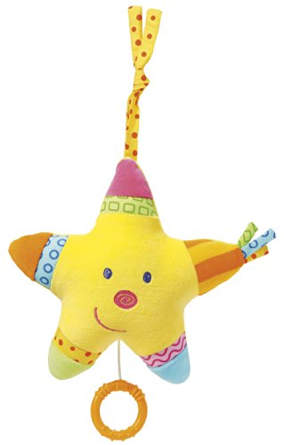 Fehn 142501 Spieluhr Stern / Aufzieh-Spieluhr mit herausnehmbarem Spielwerk zum Aufhängen, Kuscheln und Greifen, für Babys und Kleinkinder ab 0+ Monaten