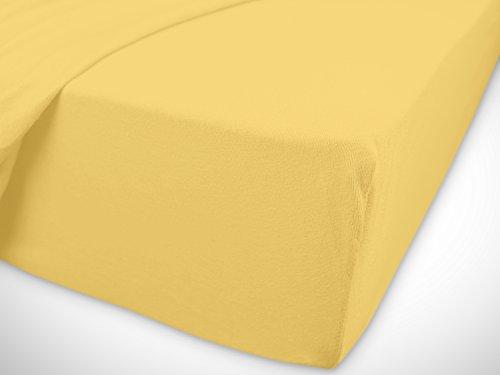 npluseins klassisches Jersey Spannbetttuch – erhältlich in 34 modernen Farben und 6 verschiedenen Größen – 100% Baumwolle, 70 x 140 cm, gelb - 7
