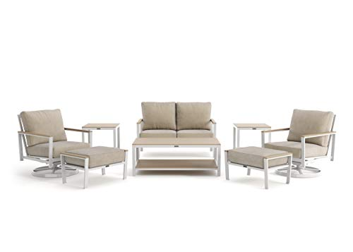 Echo Cushion - 8-Piece Loveseat, Swivel Lounge Chair, Ottoman and Side Table Seating Set - Fog Frame - Beech Wood Armcaps - Sunbrella Cast Ash Fabric