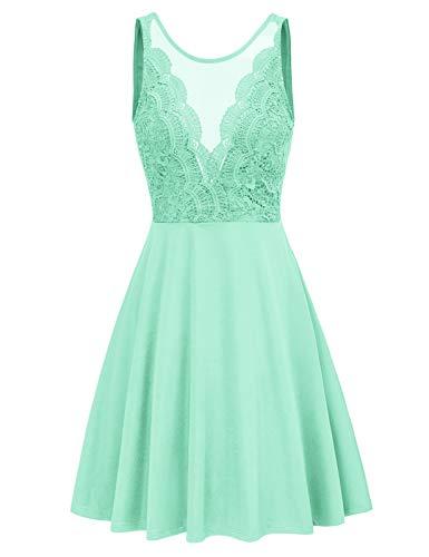 Women Sleeveless A Line Wedding Guest Dress Lace Fit and Flare Swing Dress XL Mint Green