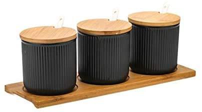 Huishoudelijke Creative Japanse Glaze Ceramic Spice Jars Fashion Keuken kruiden Flessen Sets Met Seal Cover Tray-Black kruiden tank (Kleur: lichtgrijs) 8bayfa (Color : Light Grey)