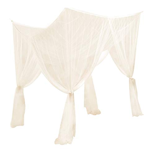ChYoung 4 Corners Post Bed Canopy Elegant Mosquito Net Large Queen Size Bed Curtain for Girls Boys Adult