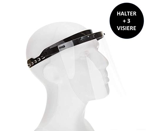 Fredo® Ergonomisches Gesichtsschutz - Visier aus Kunststoff - Face Shield - Aufklappbar Gesichts Schutzschild - 1 X Halter mit je 3 Wechselfolien