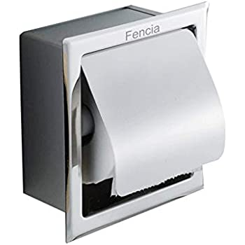 Amazon Com Fencia Toilet Paper Holder Stainless Steel Waterproof Recessed Wall Mount Chrome Finish With Cover Roll Paper Holder Tissue Dispenser Rustproof Bathroom Toilet Paper Roll Tissue Holder Home Kitchen