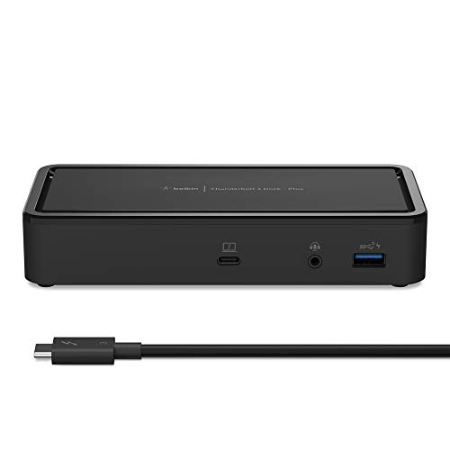 Belkin Thunderbolt 3 Dock Plus w/ 2.6ft Thunderbolt 3 Cable (Thunderbolt Dock for macOS and Windows) Dual 4K @60Hz, 40Gbps Transfer Speeds, 60W Upstream Charging