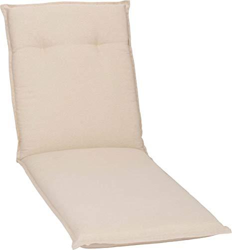 Beo Sonnenliege Auflage Wasserabweisend Turin | Made in EU Premium-Qualität | Auflage Gartenliege UV-beständig, fleckenabweisend und waschbar | Atmungsaktive Liegestuhl Auflage in Beige