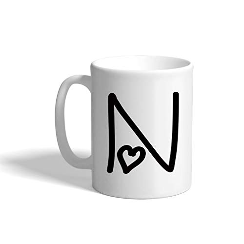 N Love Hearts Initial Monogram Personalized Letter N Ceramic Mug Coffe Cup Holiday Christmas Hanukkah Gift For Men & Women