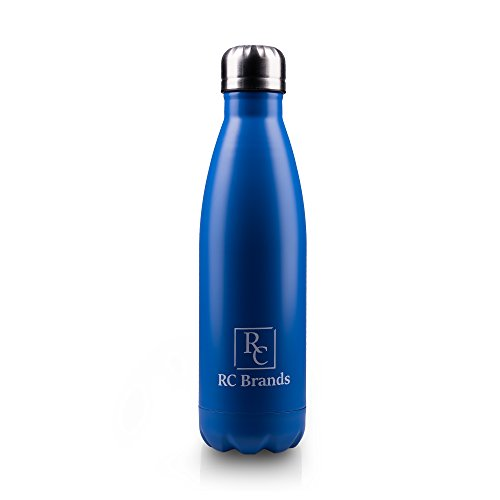 RC BRANDS Best Stainless Steel Double Wall Vacuum Insulated Water Bottle – 500 ML Reusable – Non-toxic + Copper Technology – Ideal for Camping, Hiking, Cycling, Sports & Travel (Blue)