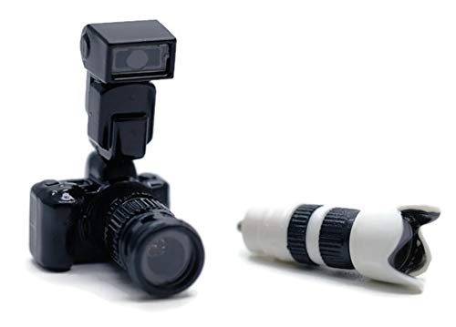 Digital Camera Black with Zoom Lens and Removable Flash Light Part Dollhouse Miniatures Supply Deco by Cool Price