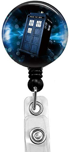Doctor who Tardis Badge Reel, Retractable Name Card Badge Holder with Alligator Clip, 24in Nylon Cord, Medical MD RN Nurse Badge ID, Badge Holder, ID Holder, Office Employee Name Badge