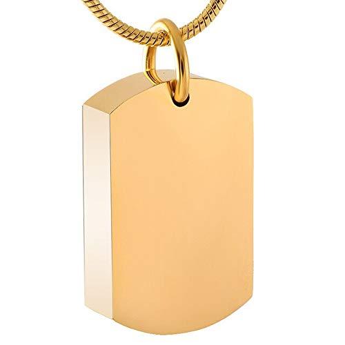 TIANZXS Collar de urna de cremación con Etiqueta de Perro para Cenizas, Recuerdo de Acero Inoxidable, joyería de Cenizas conmemorativas para Hombres y Mujeres,Color Dorado Puro