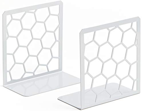 Premium Bookends Geometric Honeycomb Metal Book Ends Gray 1 Pair Book End for Shelves