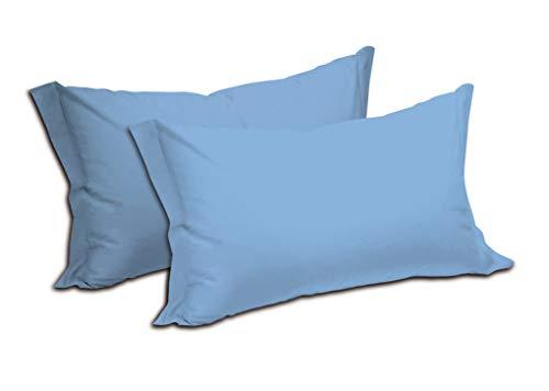 Fundas de almohada de color liso, 100% puro algodón, paquete de 2 unidades, con cierre de sobre, suave y ligera, transpirable, medidas: 52 x 82 cm (azul)