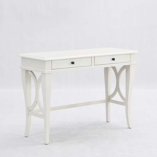 B&D home Schreibtisch weiß, Konsolentisch mit Schubladen, Computertisch, Wohnzimmertisch, für Mädchen, Vintage, aus Massivholz mit antikiertem weißem Finish, 110 x 45 x 77.5 cm