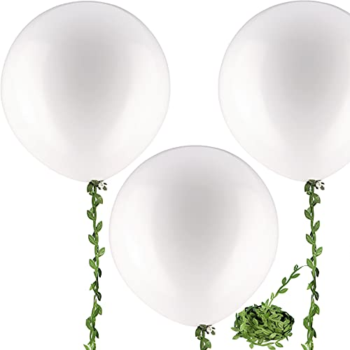 10 Pieces 36 inch White Balloons White Giant Balloons Big Large Balloons with 65 Feet Long Artificial Vine for Wedding Birthday Party Decorations
