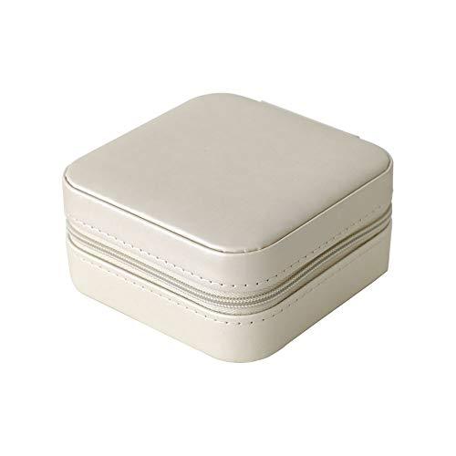 WNN - Caja de joyería URG, pequeña caja de almacenamiento para joyas, cosméticos, portátil, de piel, pendientes, anillos, caja de joyería, impermeable, pequeña caja (color blanco)