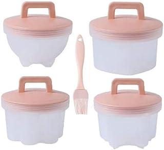 4 st äggpocherare, äggkokare koppar ångat äggverktyg äggformar med lock för äggstenciler köksredskap (rosa)